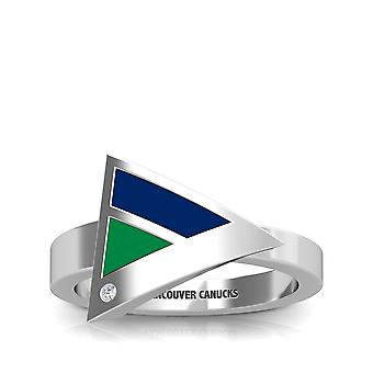 Vancouver Canucks Engraved Sterling Silver Diamond Geometric Ring In Blue and Green