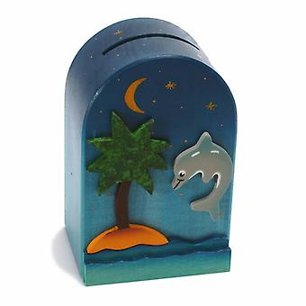 Weizenkorn Piggy Bank 3D Dolphin Wood