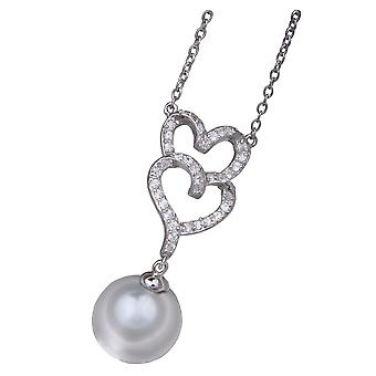 PENDANT WITH CHAIN DOUBLE HEART 925 SILVER WITH ZIRCONIUM AND PEARL