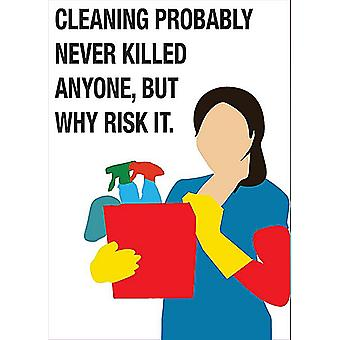 Cleaning Probably Never Killed Anyone, But Why Risk It. Fridge Magnet 90mm x 65mm (sf)