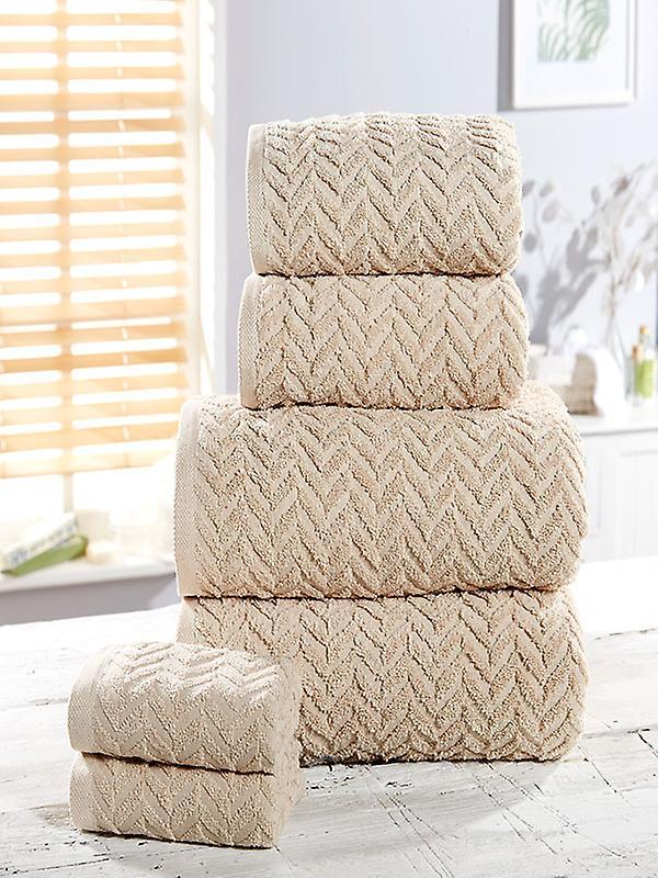 Herringbone 6 Piece Towel Bale Natural