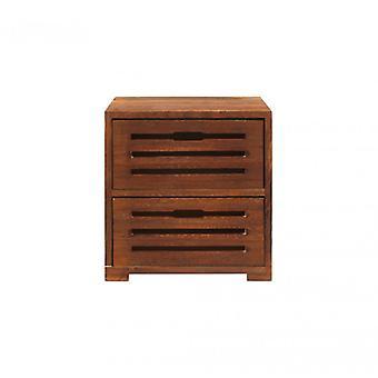 Meubles Rebecca Comodino Cassetti 2 Tiroirs Brown Wood Shabby36x35x24