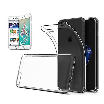Transparent TPU Shell + 2pcs screen protector for iPhone 7/8