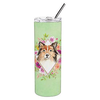 Sheltie Green Flowers Double Walled Stainless Steel 20 oz Skinny Tumbler
