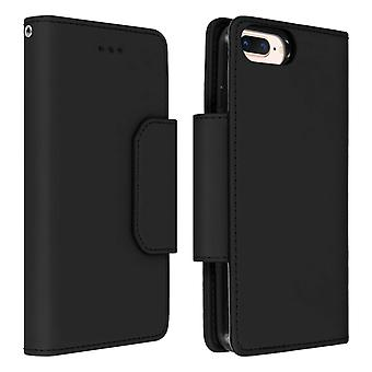 Magnetic Detachable Wallet Folio Case iPhone 6 + / 6S + / 7 + / 8 Plus - Black