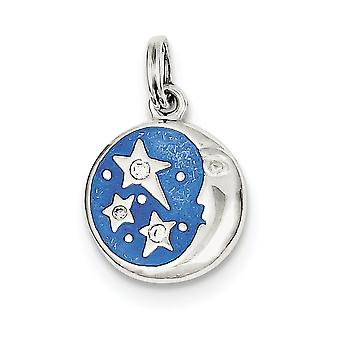 925 Sterling Silver Polished Textured back Not engraveable Blue Enameled With CZ Cubic Zirconia Simulated Diamond Charm