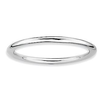 925 Sterling Silver Stackable Expressões Rhodium Polido Anel De Joias Para Mulheres - Tamanho do Anel: 5 a 10