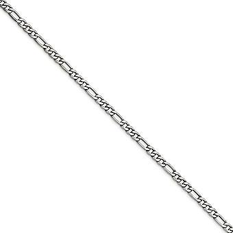 Edelstahl poliert Fancy Hummer Verschluss 6,30 mm Figaro Kette Halskette Schmuck Geschenke für Frauen - Länge: 20 bis 24