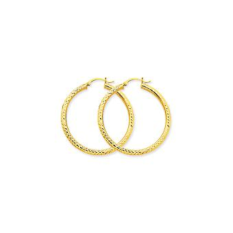 10k Yellow Gold Hollow Polished Hinged post Sparkle Cut 3mm Round Hoop Earrings Jewelry Gifts for Women