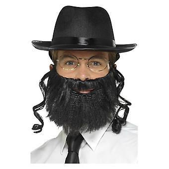 Kit de rabino de hombres con sombrero, adjunto de pelo, barba y gafas disfraces accesorios