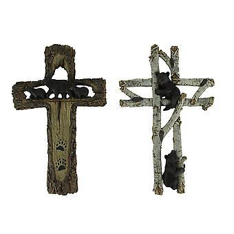 Black Bear Wood-Look Rustic Wildlife Wall Cross Set of 2
