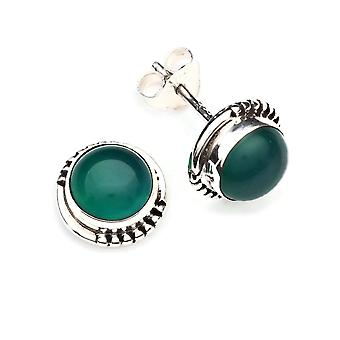 Green Onyx Stud saearrings 925 Silver Sterling Boucles d'oreilles argentées vertes (MOS 66-14)