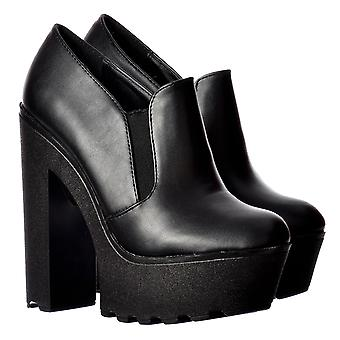 Onlineshoe Cleated Sole Platform High Heels - All Occasion Shoe - Black