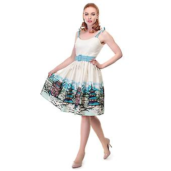 Collectif Vintage Women's Jade Scenic Mountain Border Swing Dress