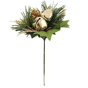 19cm Gold Glitter Pine Cone, Fern & Bell Pick for Christmas Floristry