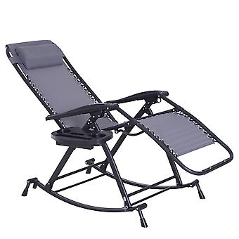 Outsunny Garden Rocking Chair Folding Recliner Outdoor Adjustable Sun Lounger Rocker Zero-Gravity Seat with Headrest Side Holder Patio Deck - Grey