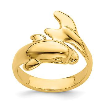 14k Ouro Único Golfinho Anel Alto Polonês Tamanho 7 Joias Presentes para Mulheres - 4,2 Gramas