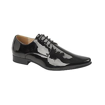 Goor Black Patent Pu 4 Eye Chisel Toe Gibson Leather Quarter Lining & ½ Sock Resin Sole