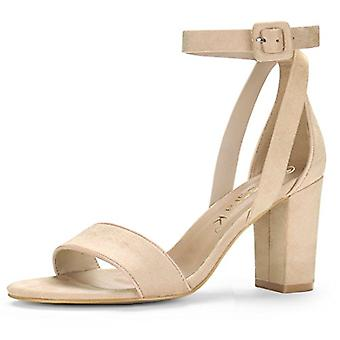 Allegra K Donne HJ284-5 Suede Peep Toe Casual Ankle Strap Sandals