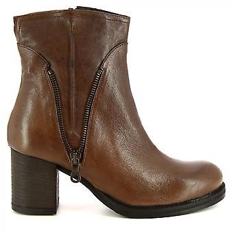 Leonardo Shoes Chaussures Femme-apos;s bottes à talons faits à la main brun foncé voile zip côté