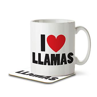I Love Lllamas - Mug and Coaster
