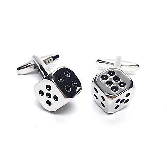 Casino Dice Cufflinks - Gift Boxed - Silver Coloured Gambler Gambling Cuff Links