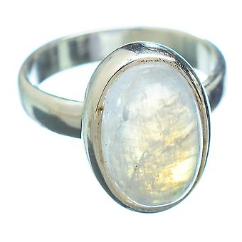 Rainbow Moonstone Ring Size 4.25 (925 Sterling Silver)  - Handmade Boho Vintage Jewelry RING2670