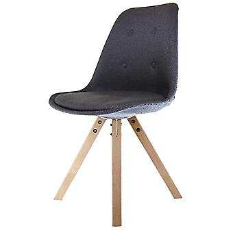 Fusion Living Eiffel Inspired Dark Grey Fabric Dining Chair With Square Pyramid Light Wood Legs