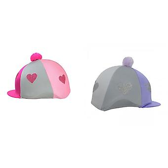 HyFashion Girls Equestrian Glitter Hearts Hat Cover