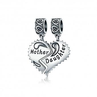 Sterling Silver Pendant Charm Mother And Daughter Love - 5291