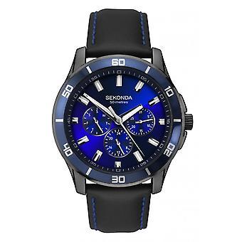 Sekonda Mens 'Midnight Blue' Round Blue Multi Dial Black/Blue Leather Strap Watch 1634