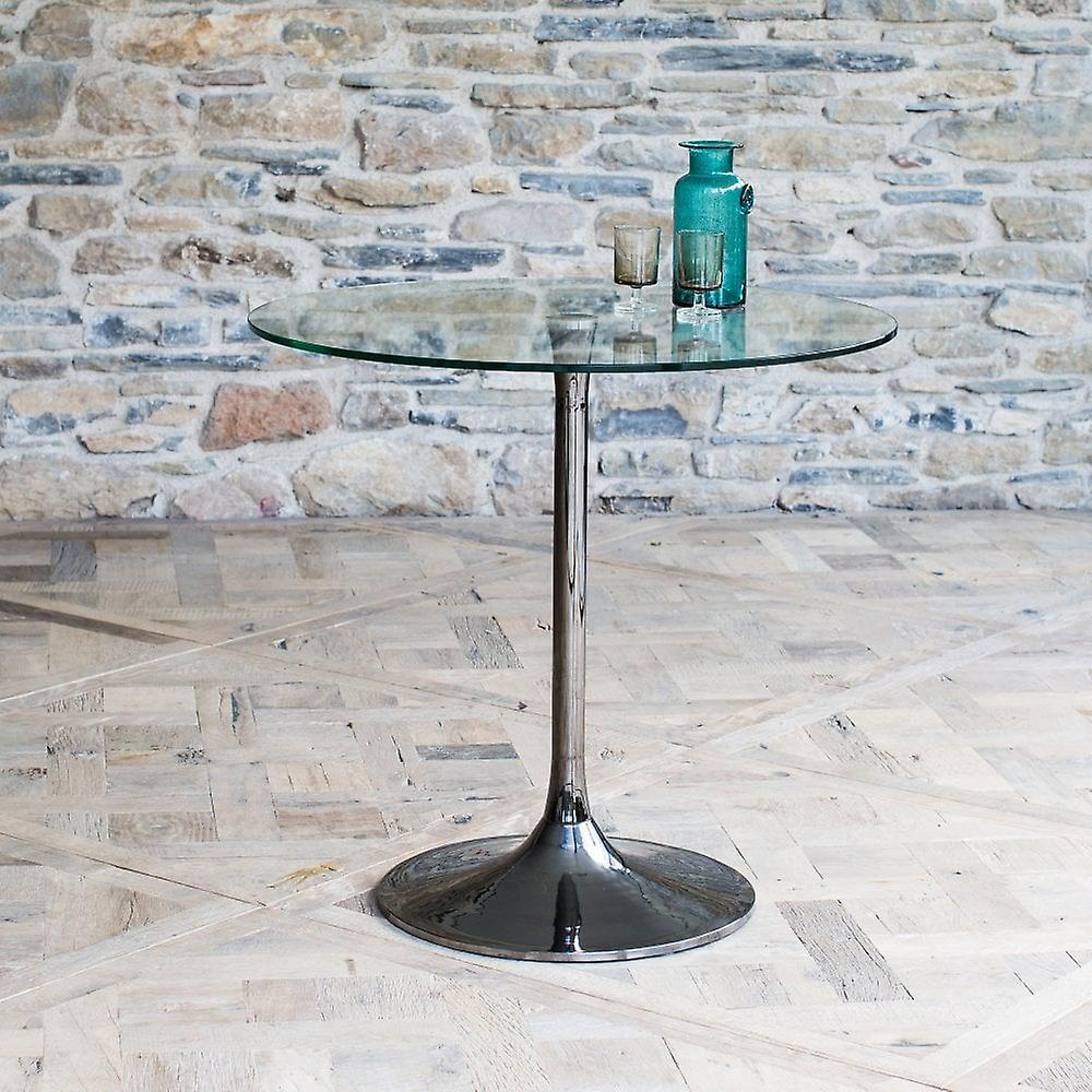 Gillmore Pedestal Grande table à manger Verre clair et Chrome fumé