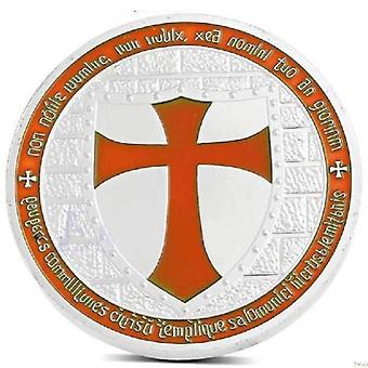 Plated masonic knights templar coin