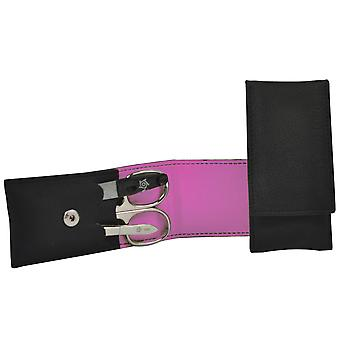 Arrow ring manicure case VEGAN black 3-piece Assembly pink manicure set