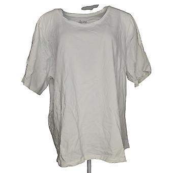Denim & Co. Women's Plus Top Essentials Elbow Sleeve Knit White A302899