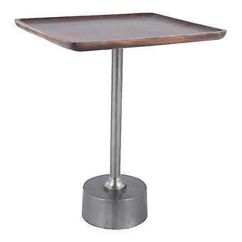 "17"" x 15"" x 21"" Wood and Black Mango Wood Aluminium Side Table"