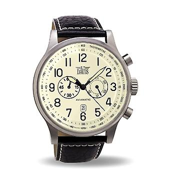 Davis _ Vintage Aviator Watch 48 mm-0454-Beige Dial-Chronograph Pond 50 M-stitched black leather strap