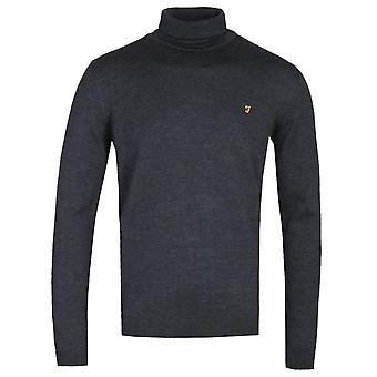 Farah Gosforth Dark Asphalt Marl Merino Rollneck Sweater
