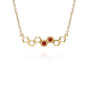 Honingraat geïnspireerd garnet Link Ketting in 9ct Yellow Gold 135N0361039