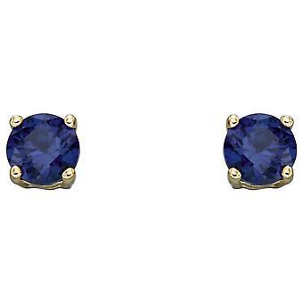 Elements Gold September Birthstone Stud Earrings - Dark Blue/Gold