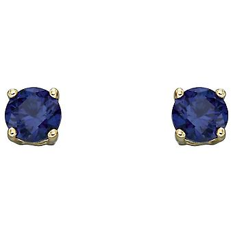 Elements Gold September Birthstone Stud Earrings - Bleu foncé/Or