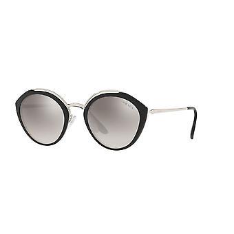 Prada SPR18U 4BK5O0 Black-Ivory-Silver/Gradient Grey Mirror Silver Sunglasses