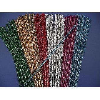 100 Assorted Colour 6mm Tinsel Pipe Cleaners | Glitter Pipecleaners
