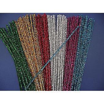 100 Blandade färg 6mm Glitter Rörrengöringsmedel | Glitter Pipecleaners