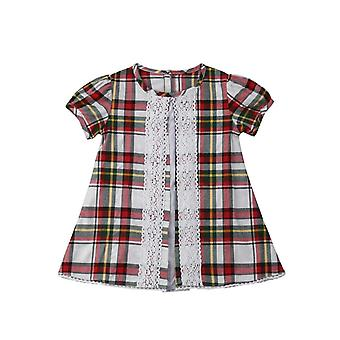 Girls Plaid Ruffles Dress