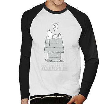Peanuts Happiness Is Sleeping In Snoopy Men's Baseball Long Sleeved T-Shirt