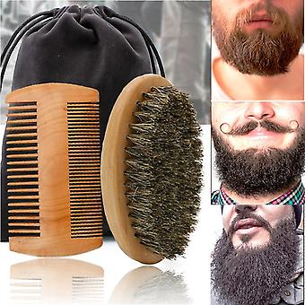 High Quality Soft Boar Bristle Wood Beard Brush - Hairdresser Mustache Comb