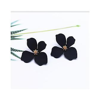 Floral Statement Stud Earrings - Black