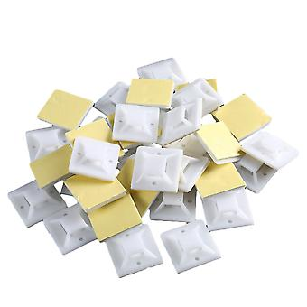 100PCS Self-adhesive Cable Tie Holder White Yellow Glue 25x25mm