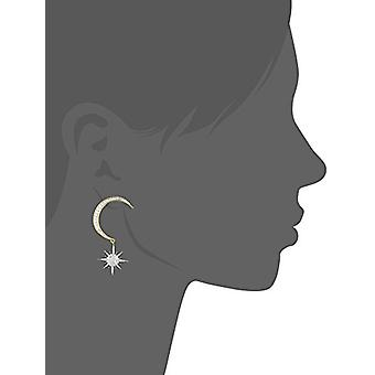 nOir bijuterii Crescent Moon și Starburst Drop Cercei, Aur / Clear, Dimensiune nici o dimensiune